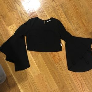 Black crop top with bell sleeves